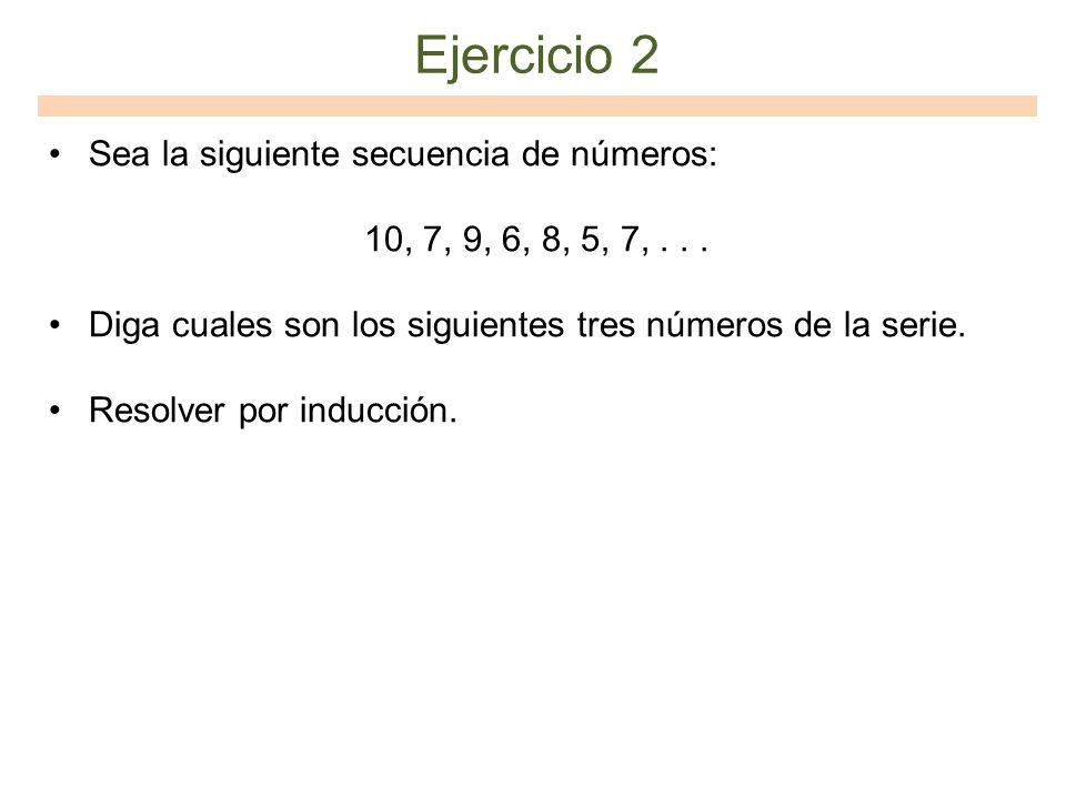 Ejercicio 2 Sea la siguiente secuencia de números: