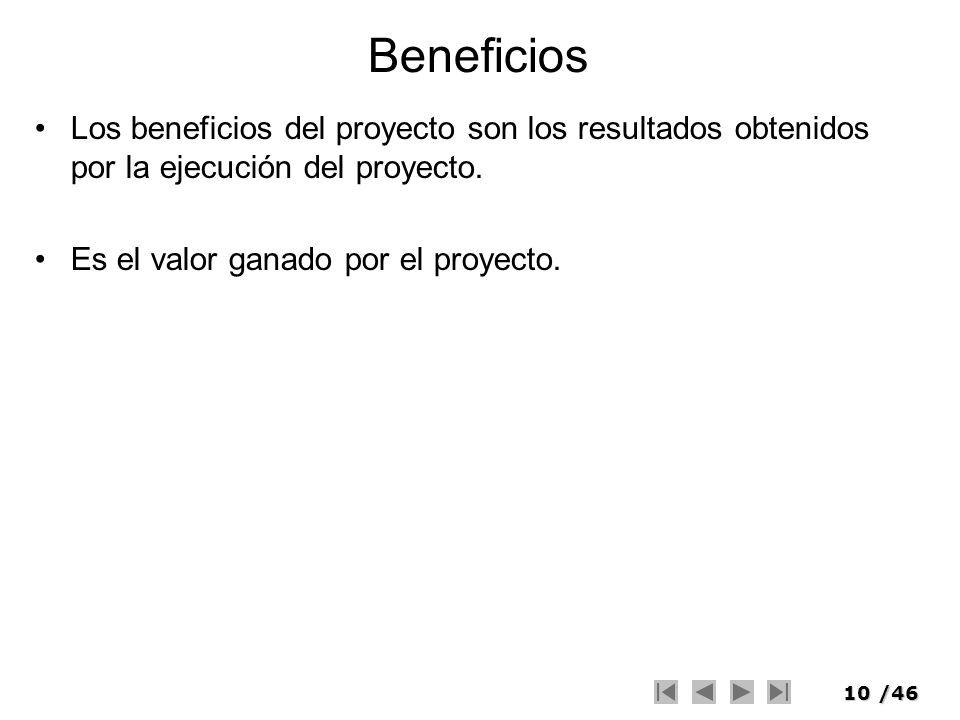 Beneficios Los beneficios del proyecto son los resultados obtenidos por la ejecución del proyecto.