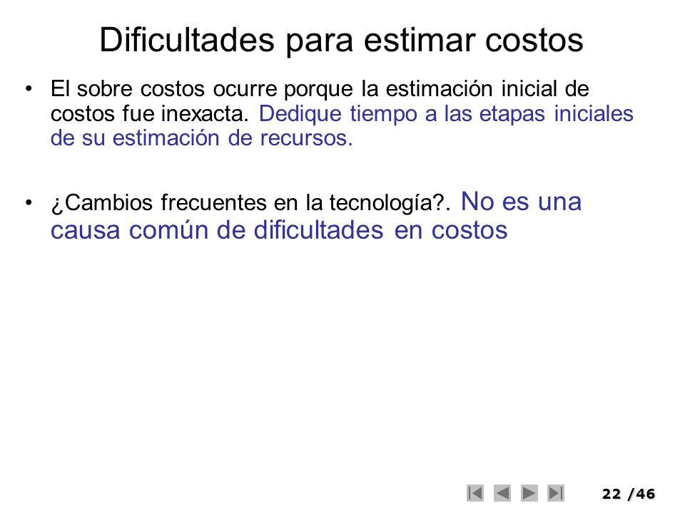 Dificultades para estimar costos