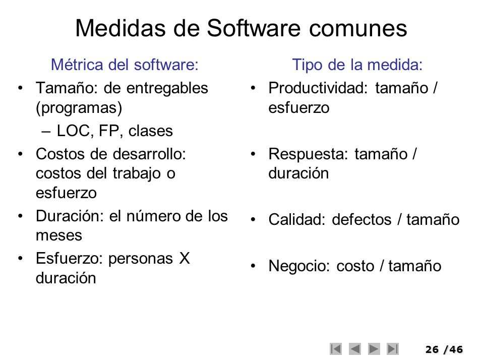 Medidas de Software comunes
