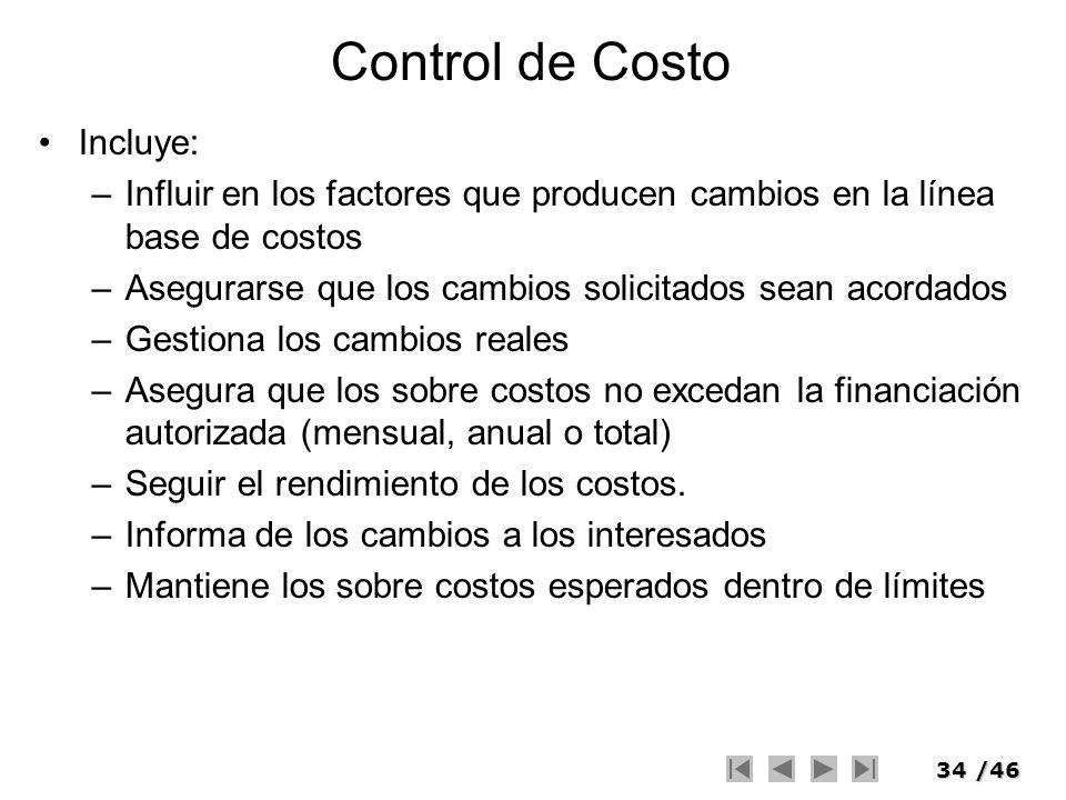 Control de Costo Incluye: