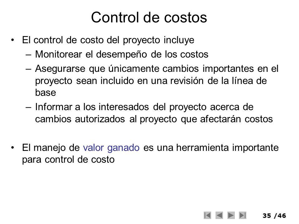 Control de costos El control de costo del proyecto incluye