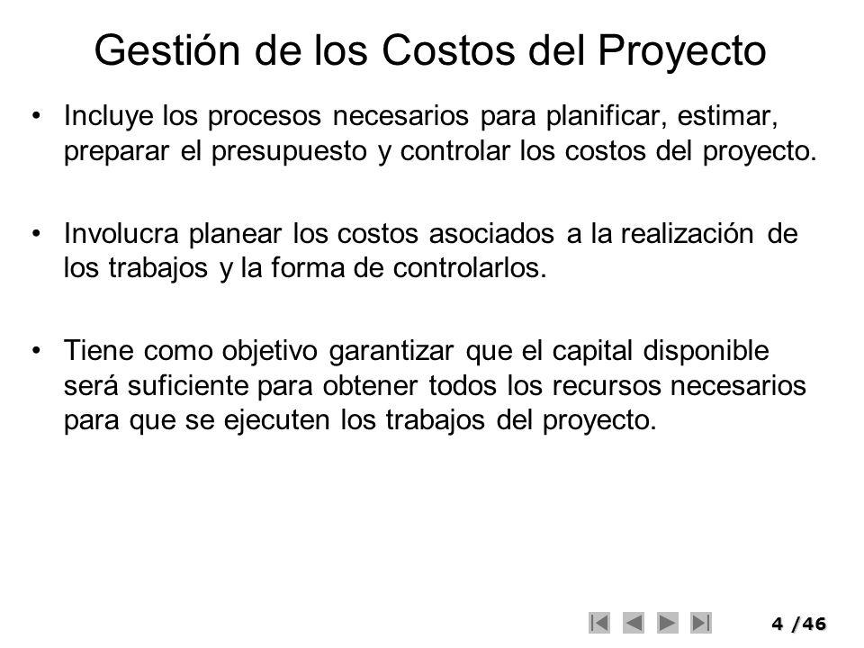 Gestión de los Costos del Proyecto