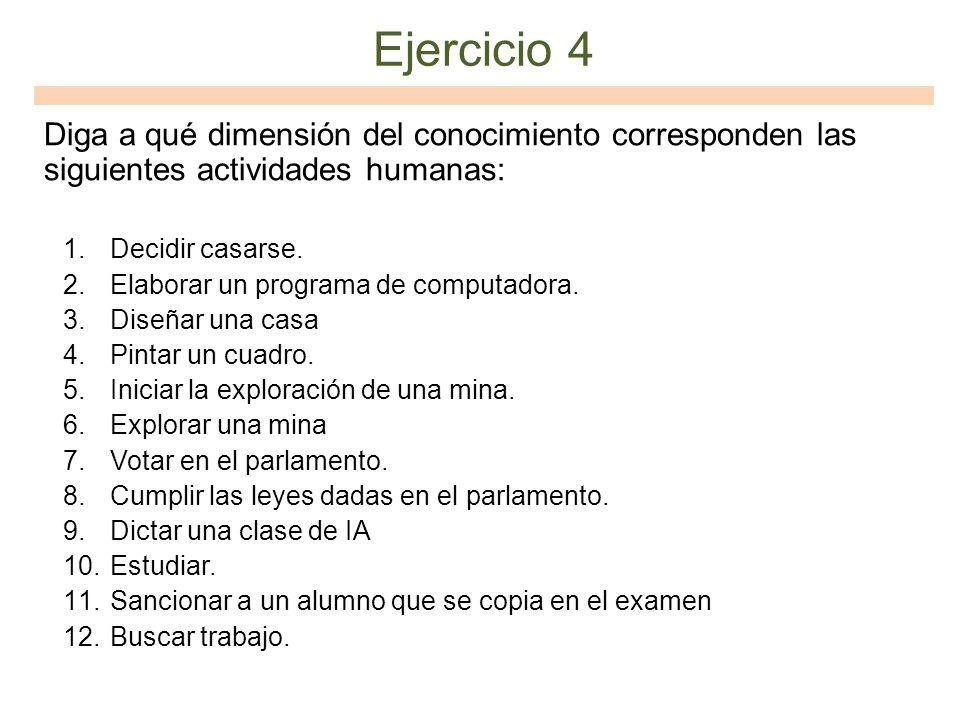 Ejercicio 4 Diga a qué dimensión del conocimiento corresponden las siguientes actividades humanas: Decidir casarse.