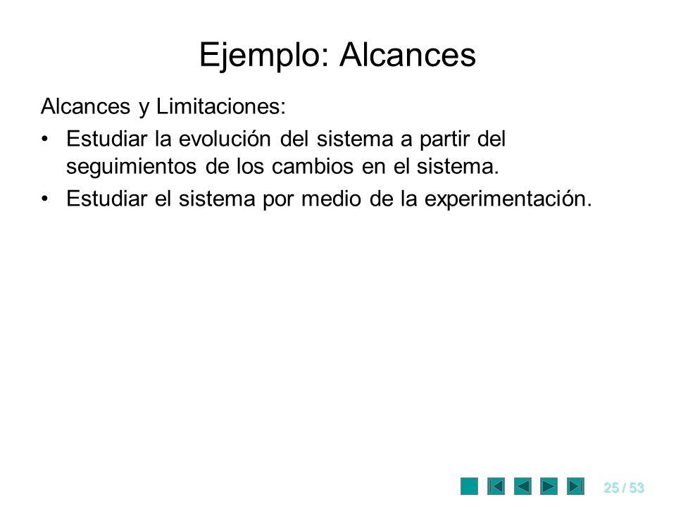 Ejemplo: Alcances Alcances y Limitaciones: