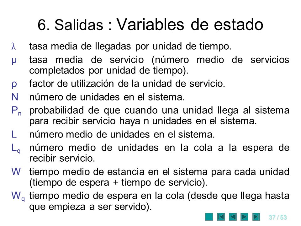 6. Salidas : Variables de estado