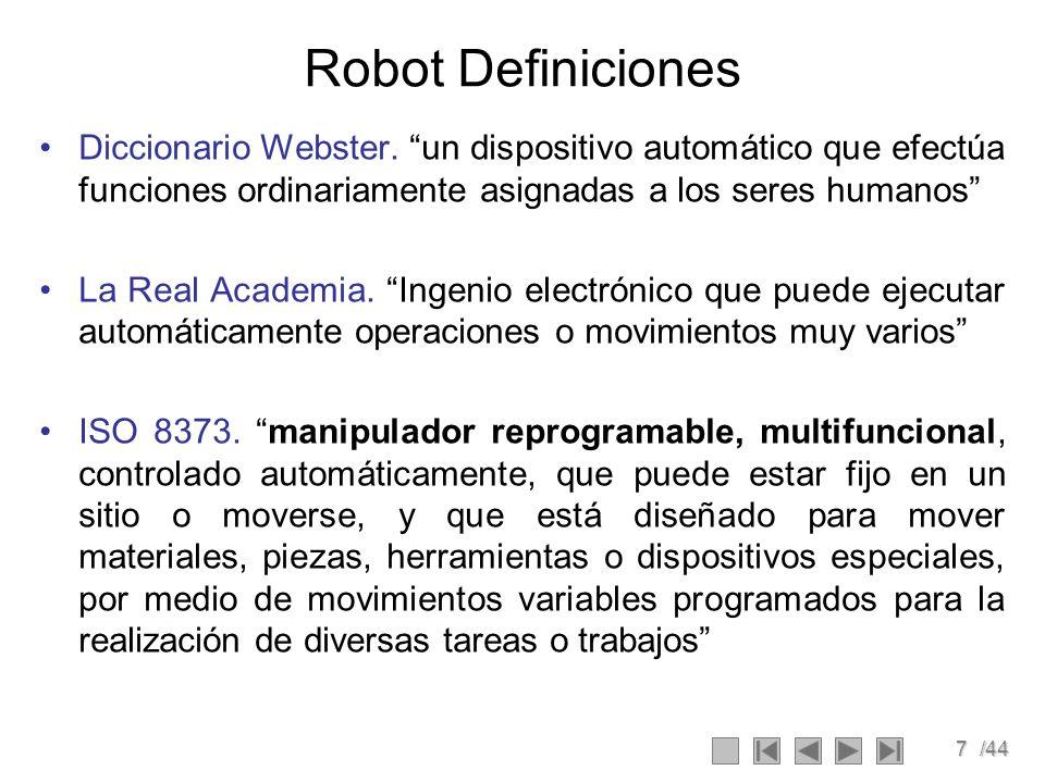 Robot Definiciones Diccionario Webster. un dispositivo automático que efectúa funciones ordinariamente asignadas a los seres humanos