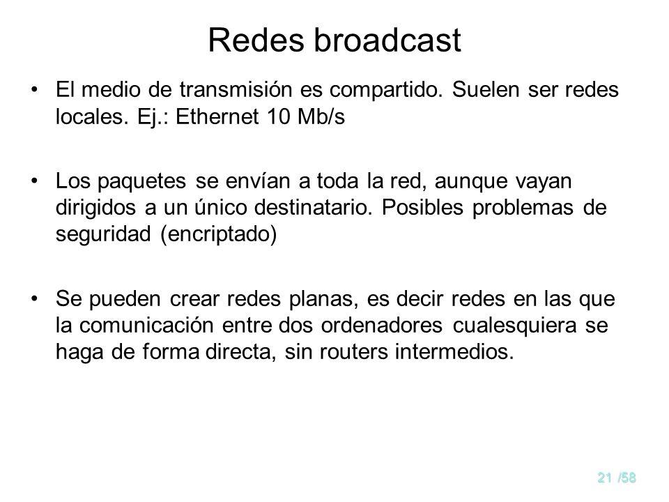 Redes broadcast El medio de transmisión es compartido. Suelen ser redes locales. Ej.: Ethernet 10 Mb/s.