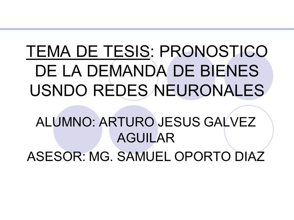 ALUMNO: ARTURO JESUS GALVEZ AGUILAR ASESOR: MG. SAMUEL OPORTO DIAZ