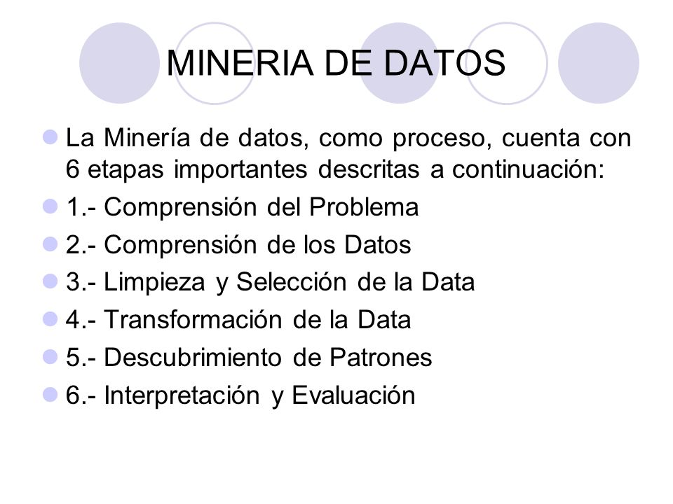 MINERIA DE DATOSLa Minería de datos, como proceso, cuenta con 6 etapas importantes descritas a continuación: