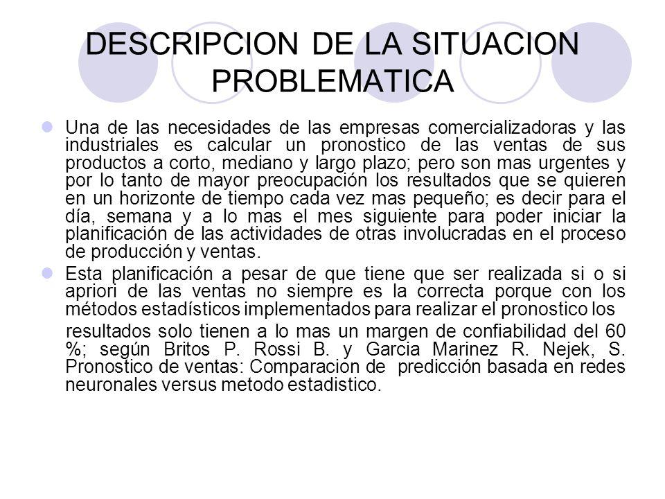 DESCRIPCION DE LA SITUACION PROBLEMATICA