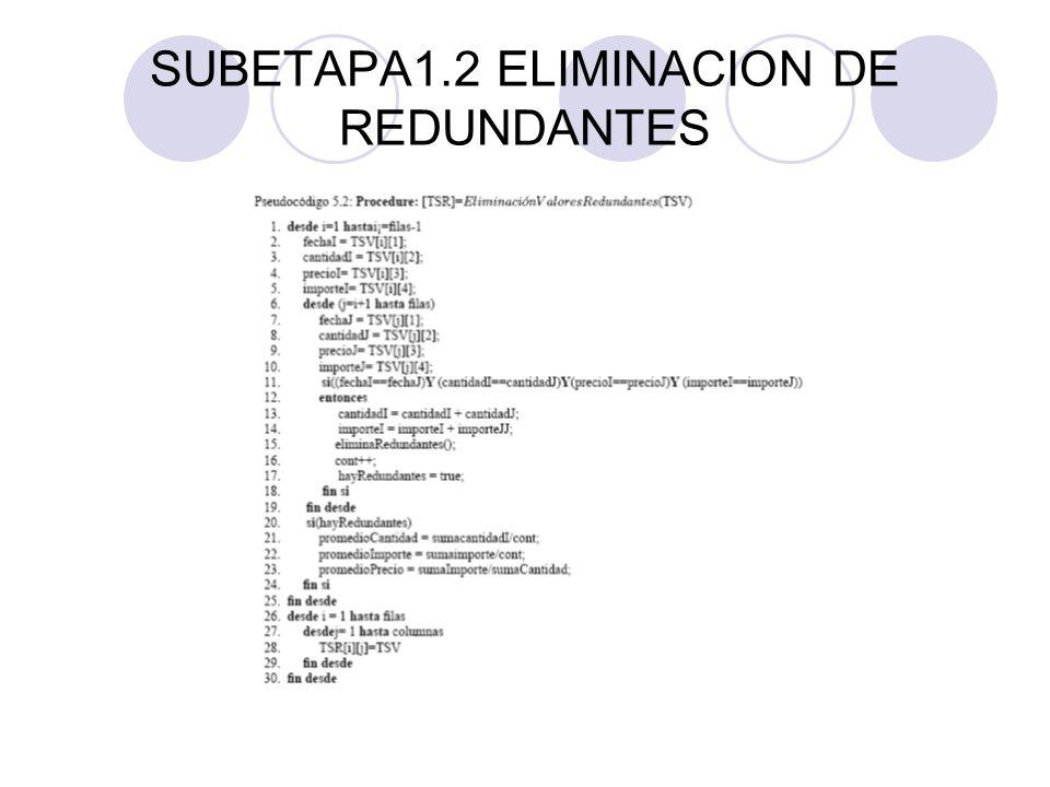 SUBETAPA1.2 ELIMINACION DE REDUNDANTES
