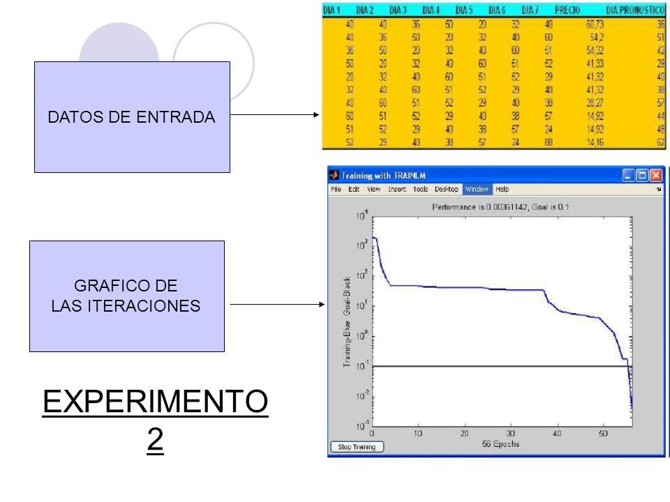 DATOS DE ENTRADA GRAFICO DE LAS ITERACIONES EXPERIMENTO 2