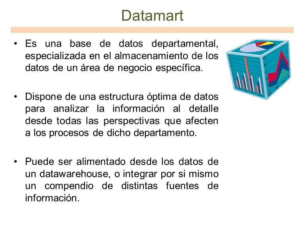 Datamart Es una base de datos departamental, especializada en el almacenamiento de los datos de un área de negocio específica.