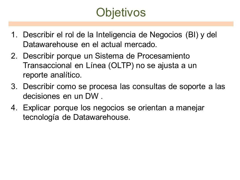 Objetivos Describir el rol de la Inteligencia de Negocios (BI) y del Datawarehouse en el actual mercado.