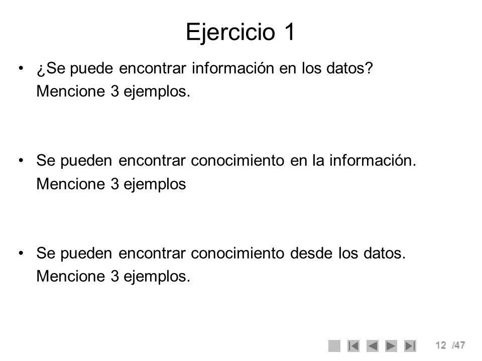 Ejercicio 1 ¿Se puede encontrar información en los datos