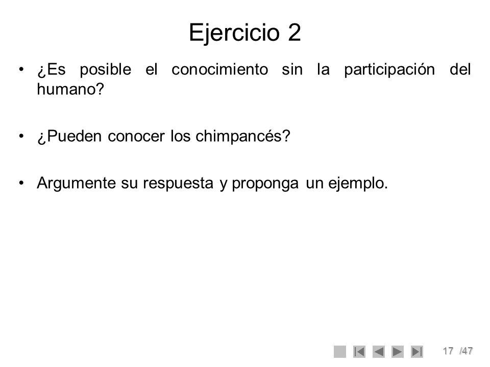 Ejercicio 2 ¿Es posible el conocimiento sin la participación del humano ¿Pueden conocer los chimpancés