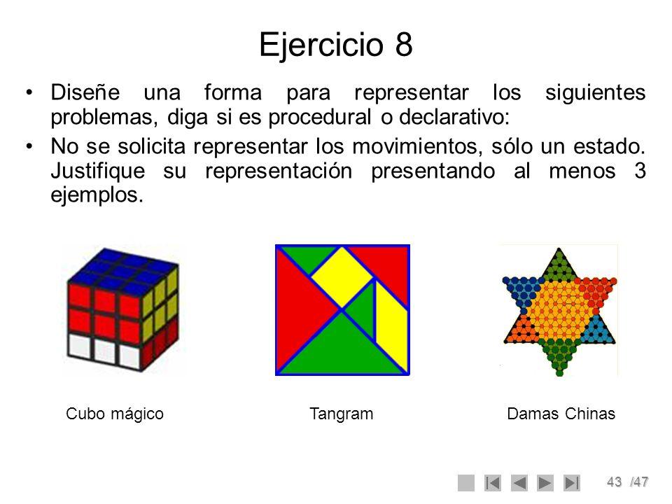Ejercicio 8 Diseñe una forma para representar los siguientes problemas, diga si es procedural o declarativo: