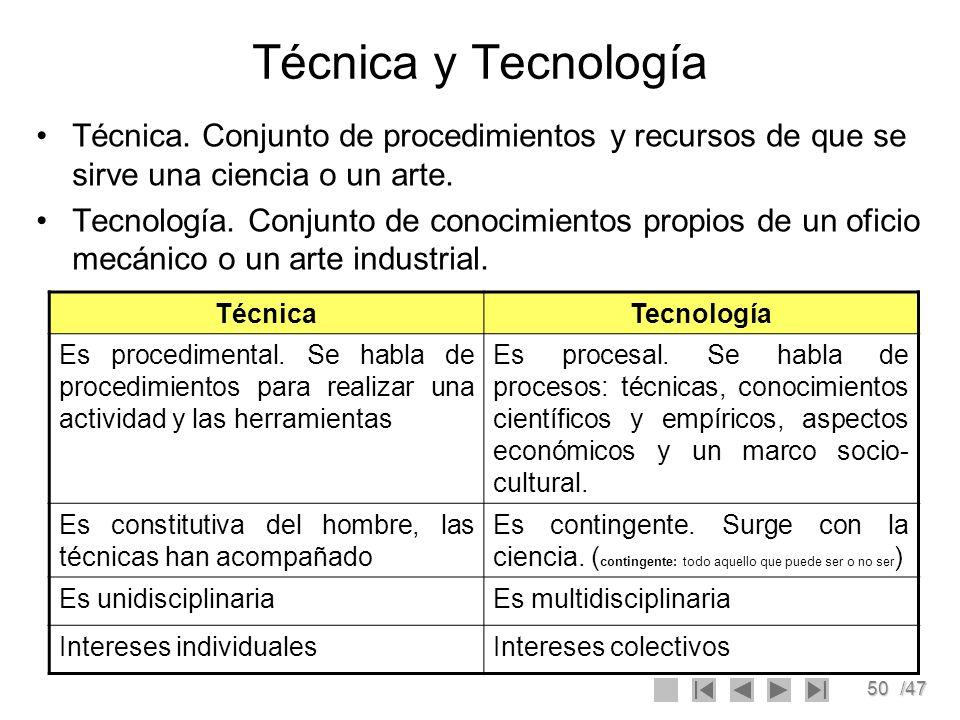 Técnica y TecnologíaTécnica. Conjunto de procedimientos y recursos de que se sirve una ciencia o un arte.