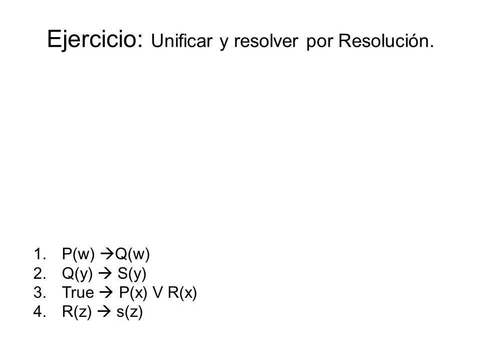 Ejercicio: Unificar y resolver por Resolución.