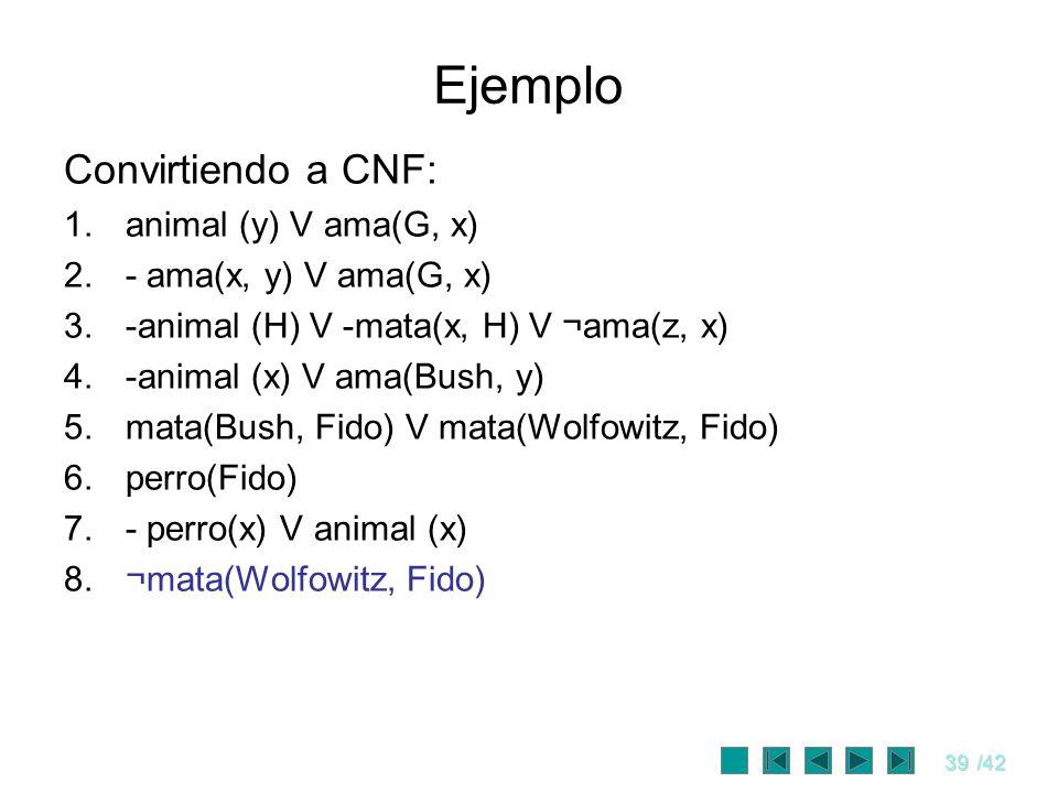 Ejemplo Convirtiendo a CNF: animal (y) V ama(G, x)