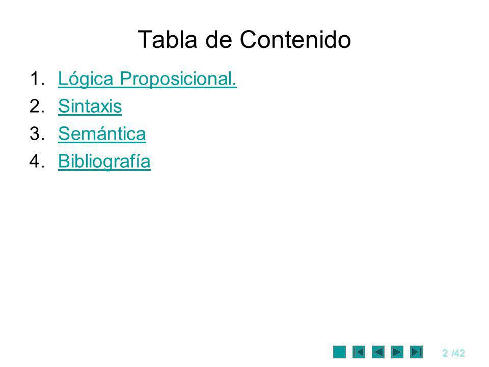Tabla de Contenido Lógica Proposicional. Sintaxis Semántica