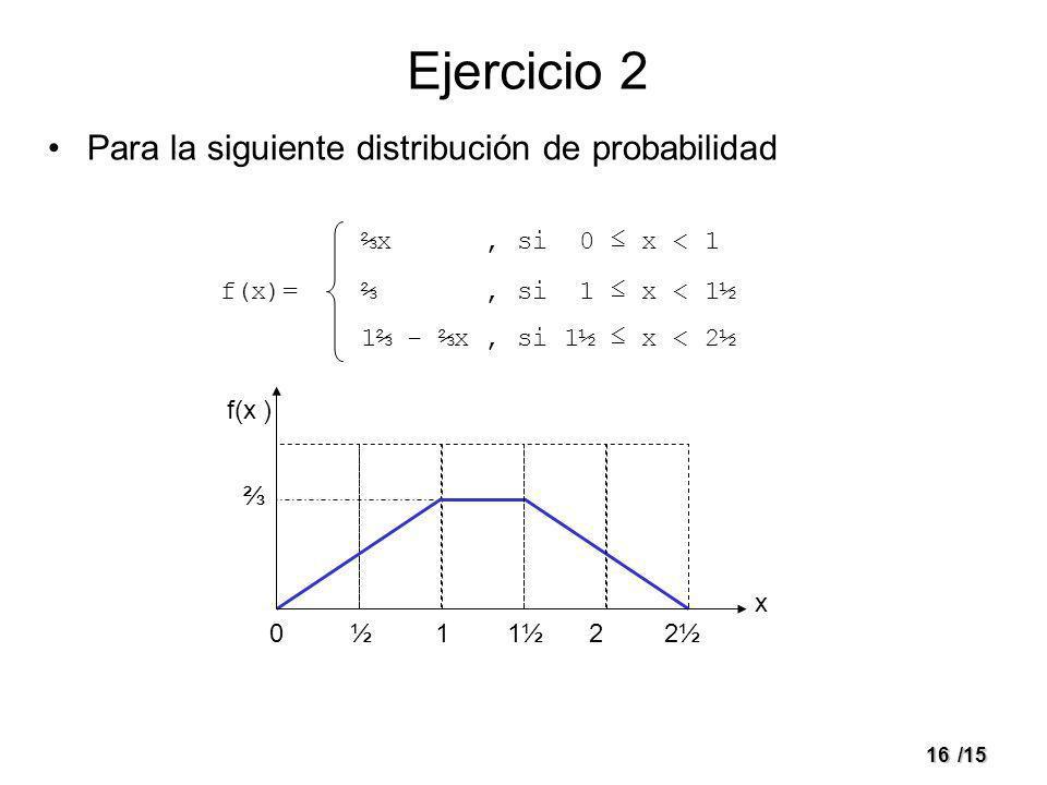 Ejercicio 2 Para la siguiente distribución de probabilidad f(x)=