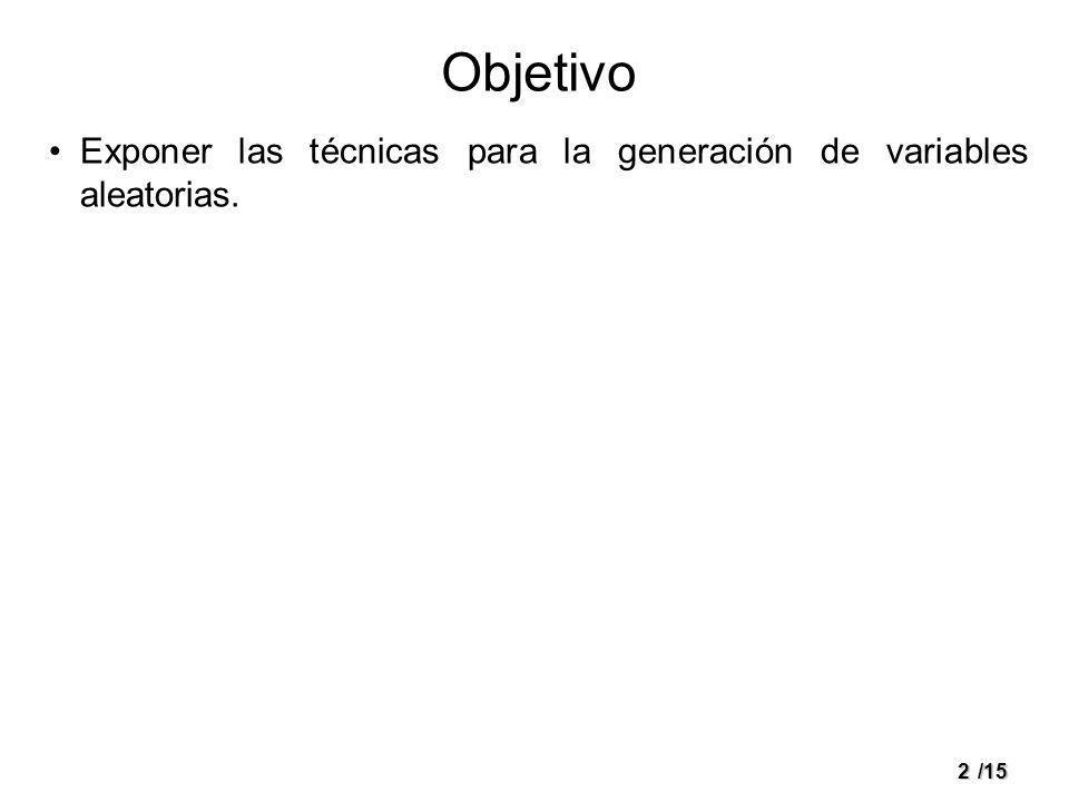 Objetivo Exponer las técnicas para la generación de variables aleatorias.