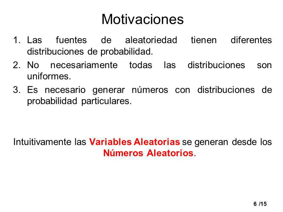 Motivaciones Las fuentes de aleatoriedad tienen diferentes distribuciones de probabilidad. No necesariamente todas las distribuciones son uniformes.