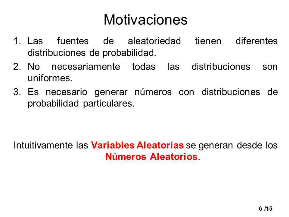 MotivacionesLas fuentes de aleatoriedad tienen diferentes distribuciones de probabilidad. No necesariamente todas las distribuciones son uniformes.