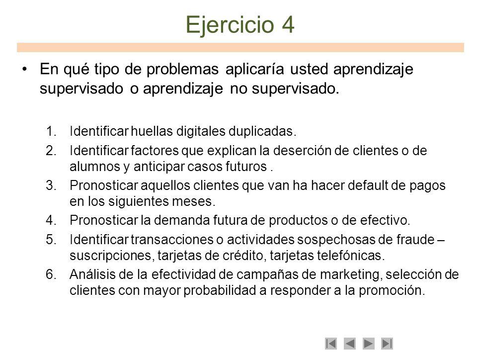 Ejercicio 4En qué tipo de problemas aplicaría usted aprendizaje supervisado o aprendizaje no supervisado.