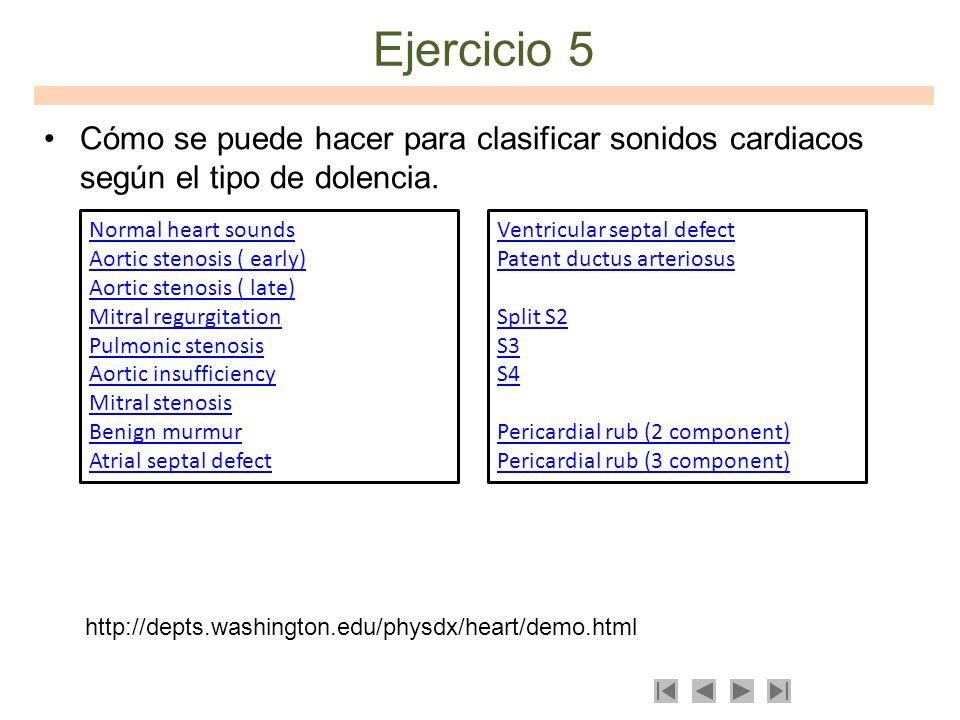 Ejercicio 5Cómo se puede hacer para clasificar sonidos cardiacos según el tipo de dolencia. Normal heart sounds.