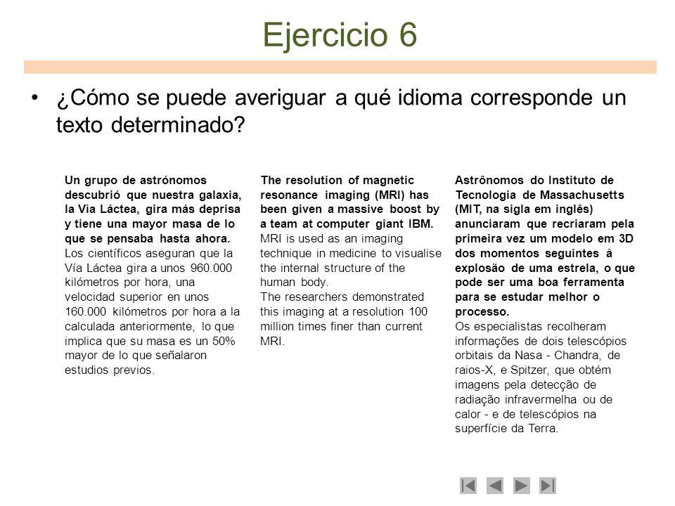 Ejercicio 6 ¿Cómo se puede averiguar a qué idioma corresponde un texto determinado