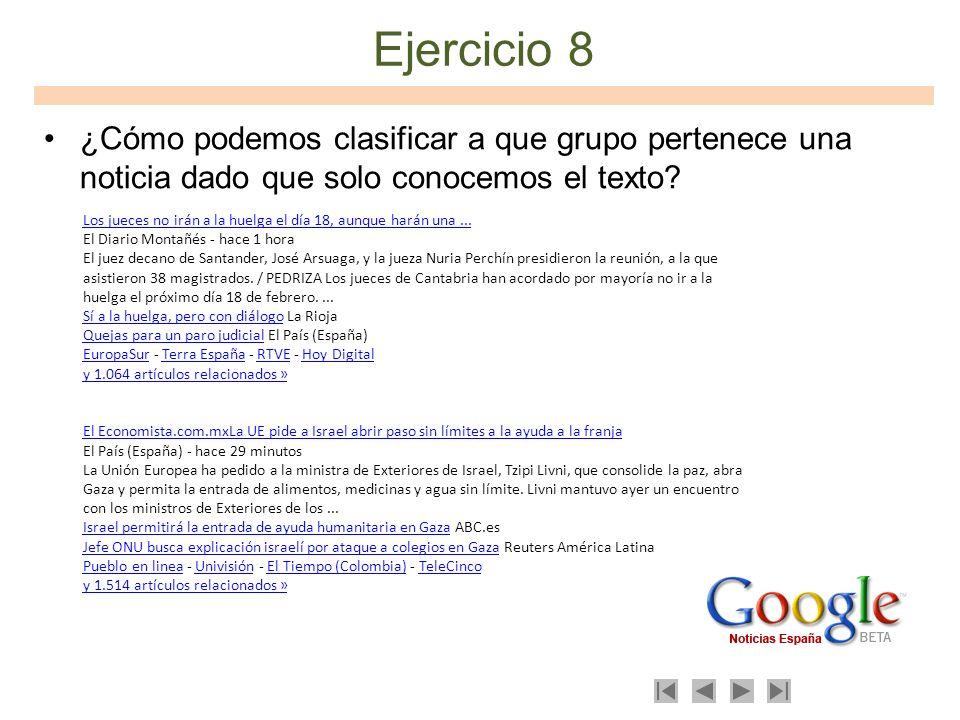 Ejercicio 8 ¿Cómo podemos clasificar a que grupo pertenece una noticia dado que solo conocemos el texto