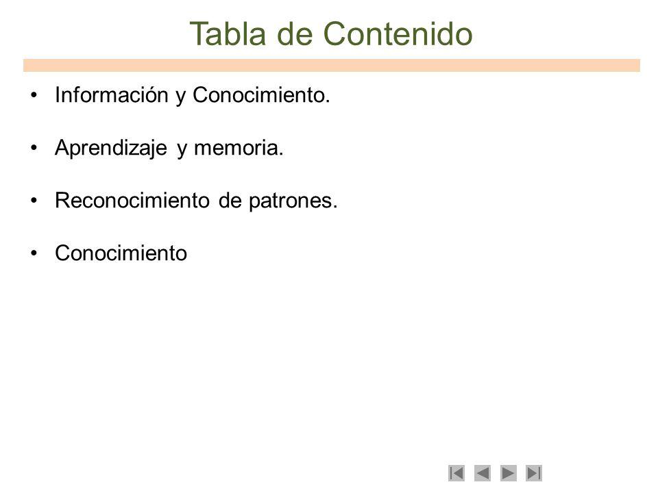 Tabla de Contenido Información y Conocimiento. Aprendizaje y memoria.