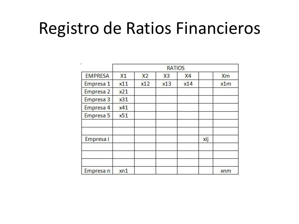 Registro de Ratios Financieros