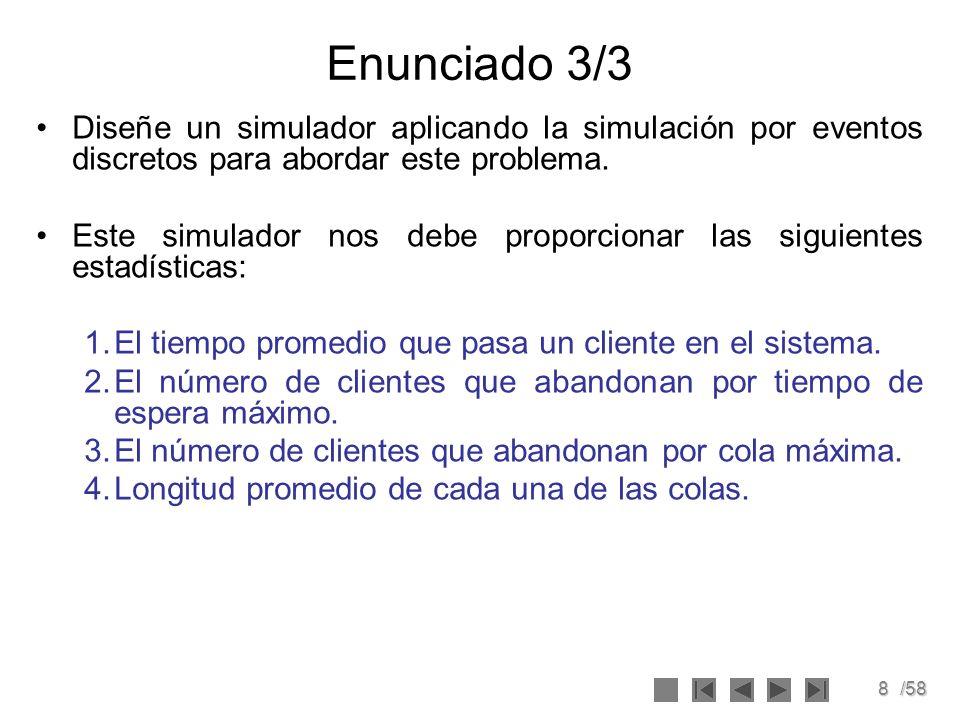 Enunciado 3/3 Diseñe un simulador aplicando la simulación por eventos discretos para abordar este problema.
