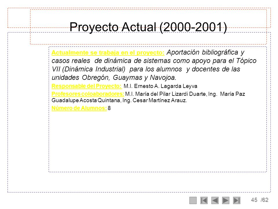 Proyecto Actual (2000-2001)