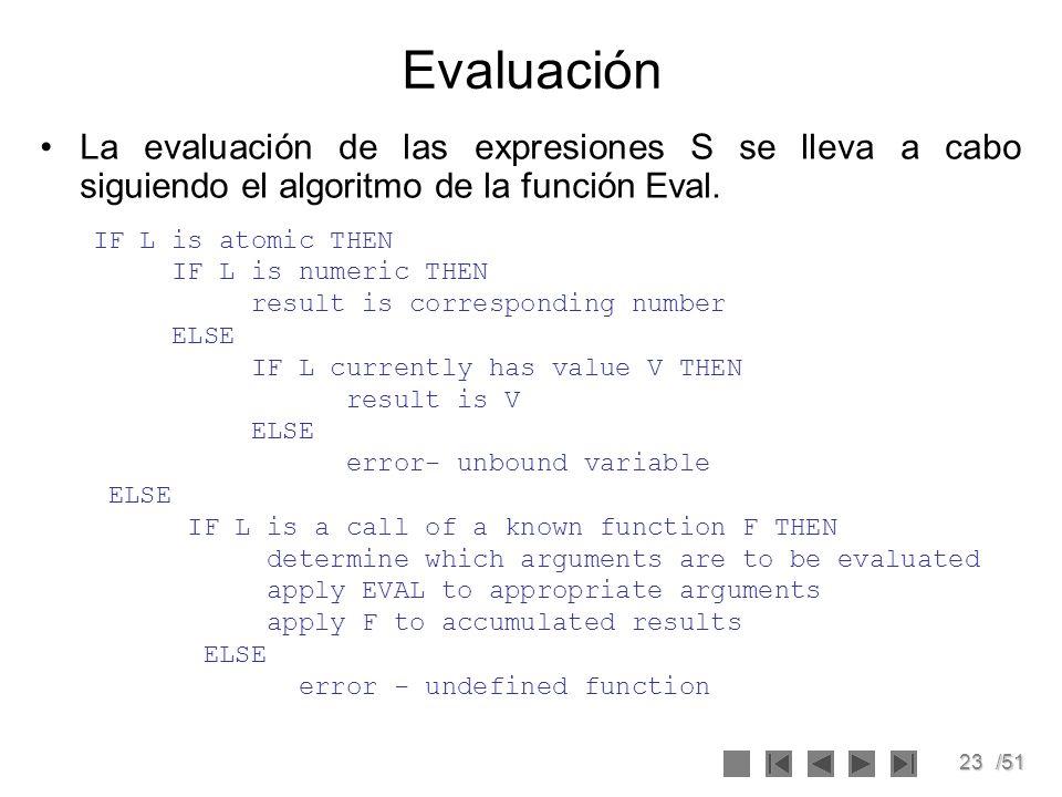 Evaluación La evaluación de las expresiones S se lleva a cabo siguiendo el algoritmo de la función Eval.