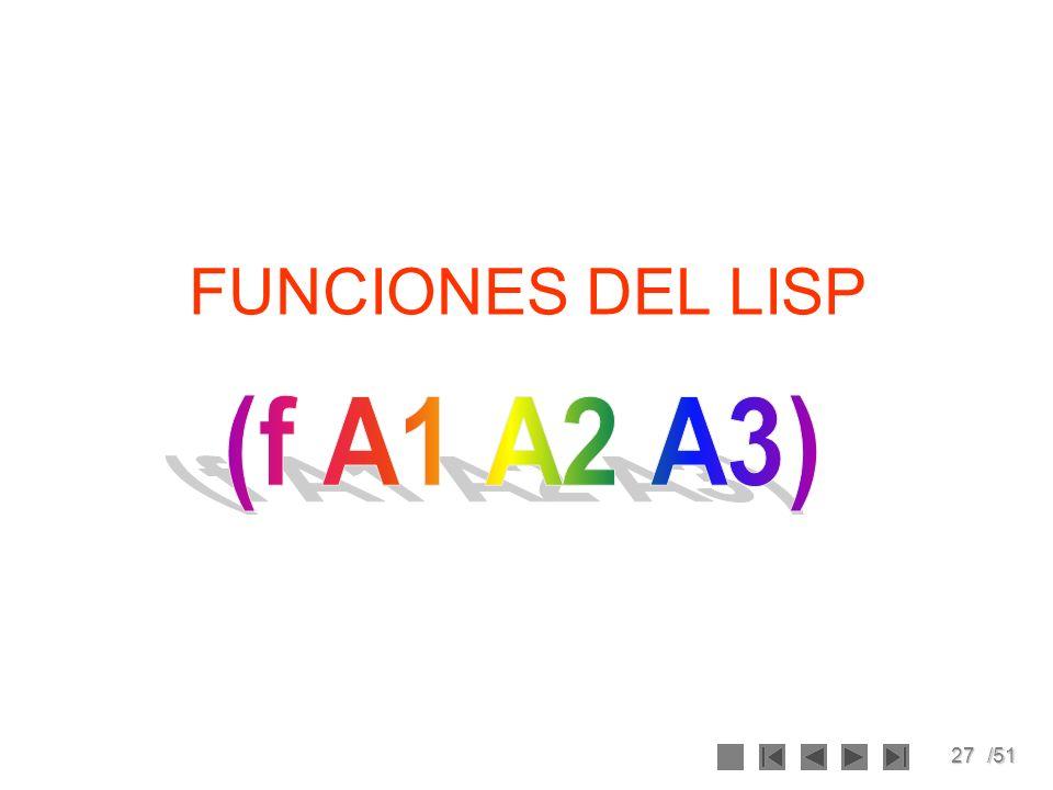 FUNCIONES DEL LISP (f A1 A2 A3)