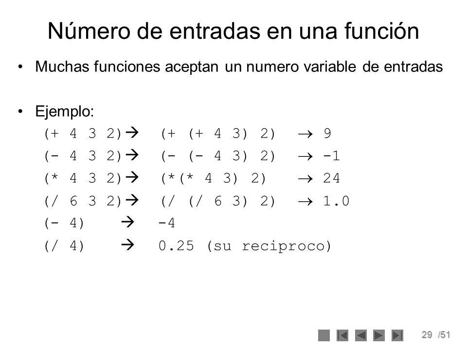 Número de entradas en una función