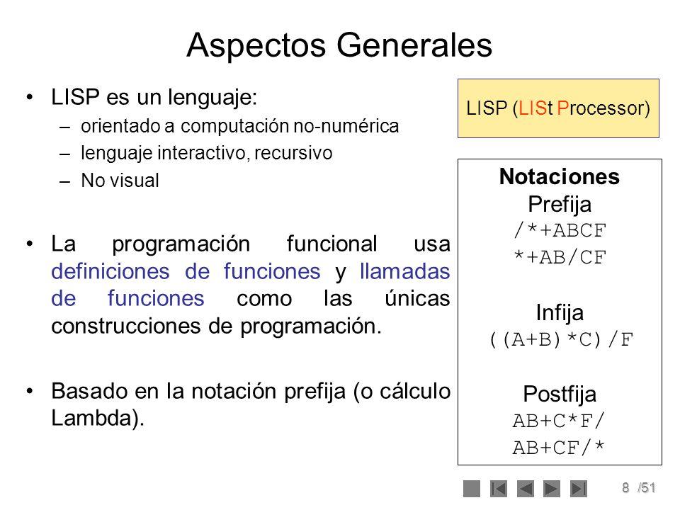 Aspectos Generales LISP es un lenguaje: