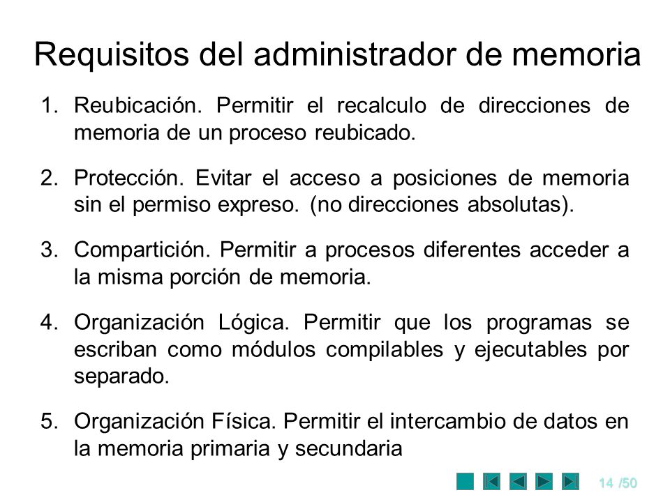 Requisitos del administrador de memoria