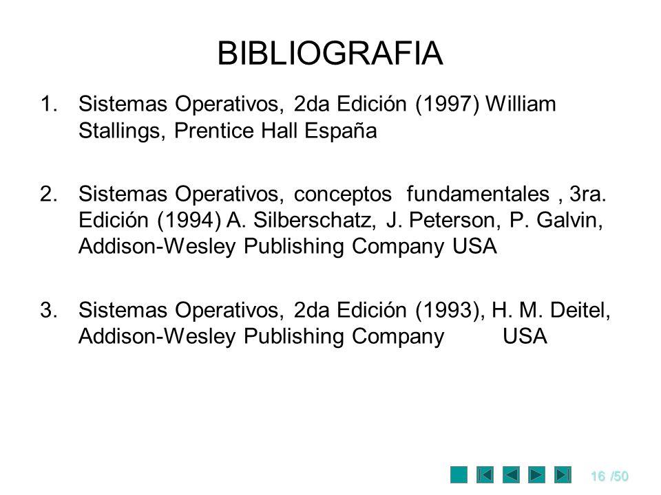 BIBLIOGRAFIA Sistemas Operativos, 2da Edición (1997) William Stallings, Prentice Hall España.