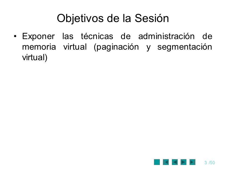 Objetivos de la Sesión Exponer las técnicas de administración de memoria virtual (paginación y segmentación virtual)