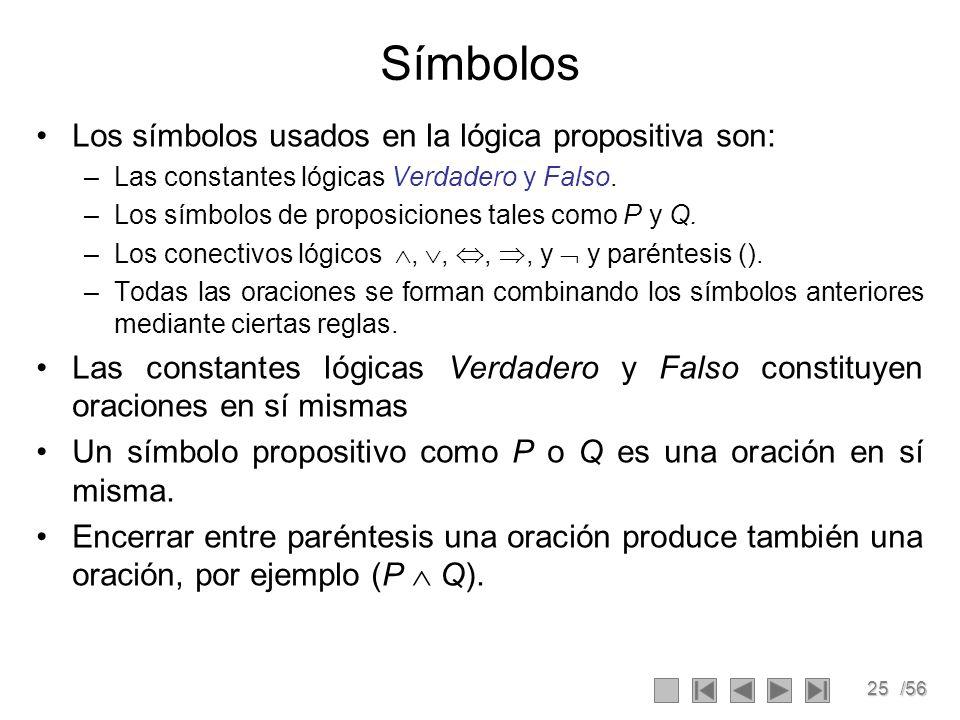 Símbolos Los símbolos usados en la lógica propositiva son: