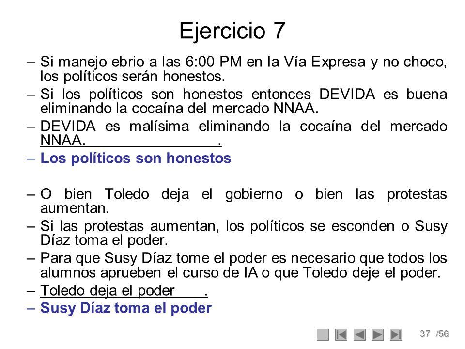 Ejercicio 7 Si manejo ebrio a las 6:00 PM en la Vía Expresa y no choco, los políticos serán honestos.