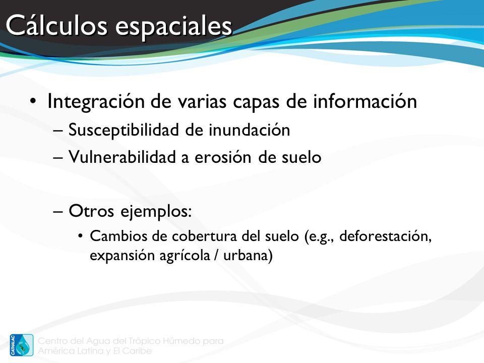 Cálculos espaciales Integración de varias capas de información