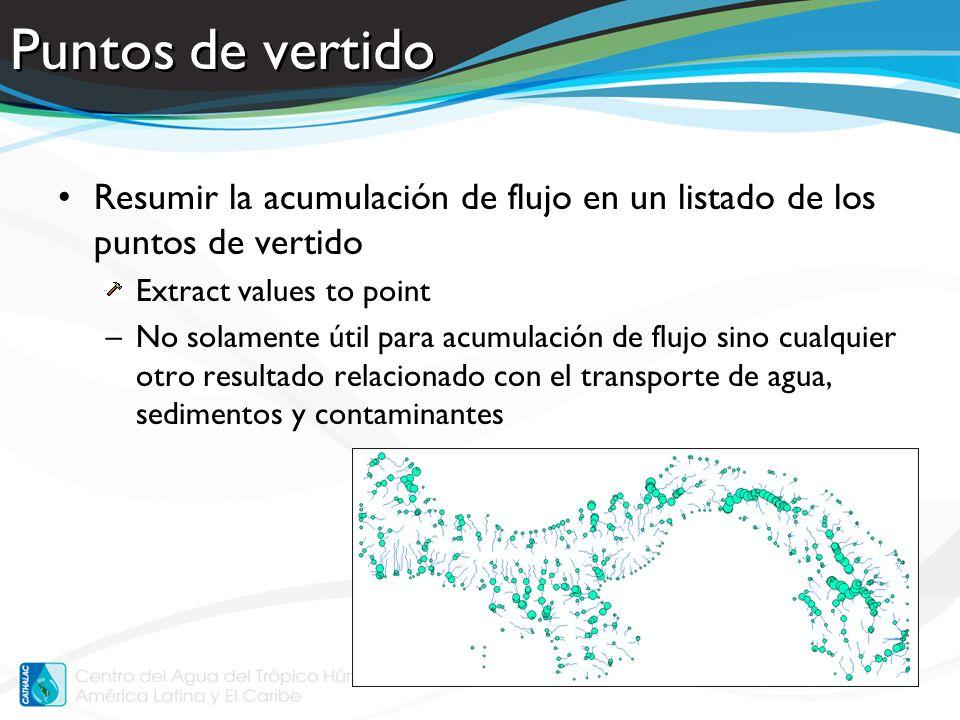 Puntos de vertido Resumir la acumulación de flujo en un listado de los puntos de vertido. Extract values to point.