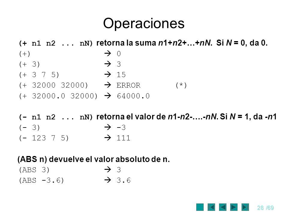 Operaciones (+ n1 n2 ... nN) retorna la suma n1+n2+…+nN. Si N = 0, da 0. (+)  0. (+ 3)  3.